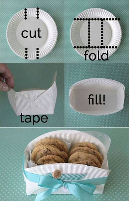 16 DIY Cookie Basket Made From A Paper Plate cff5776d2041f646b