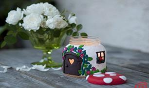 DIY Jar Mushroom House Tea Light Holder