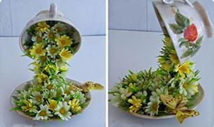 DIY Topiary Flower Flying Cup Decoration