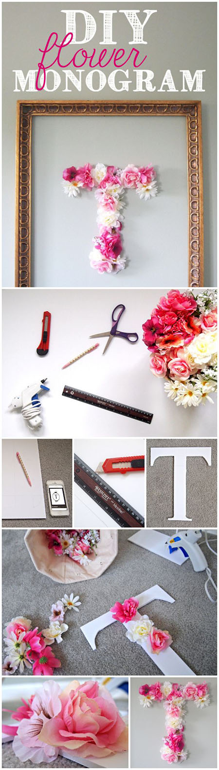 11 DIY Faux Flower Monogramd7a436