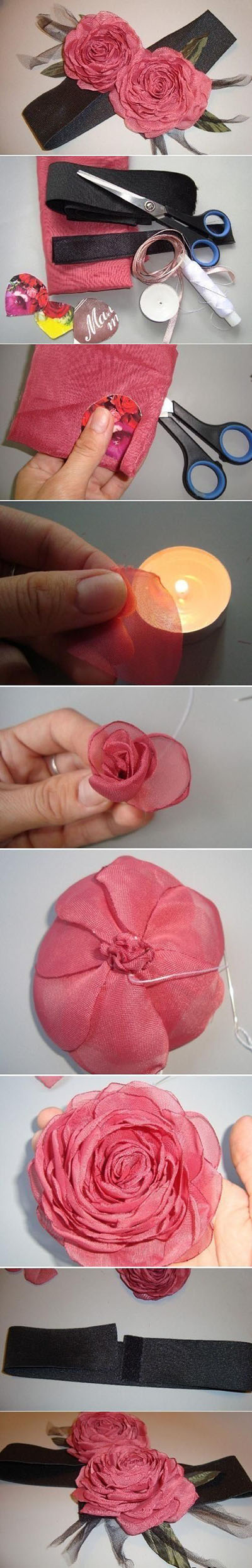 11  DIY Organza Rose 09e5e0