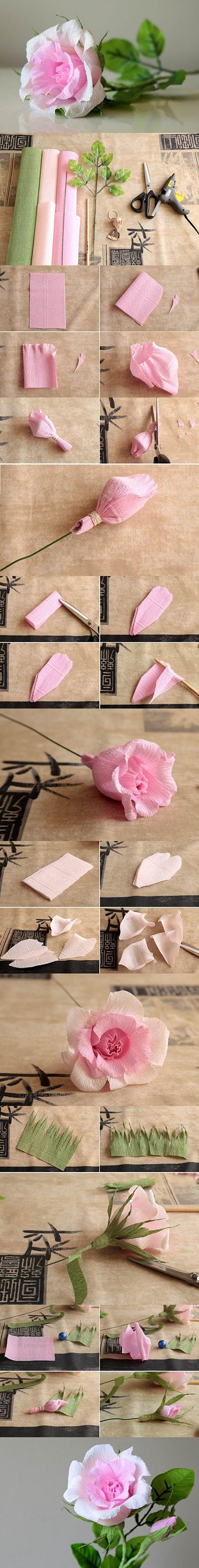 15  DIY Beautiful Crepe Paper Roses30a83c947