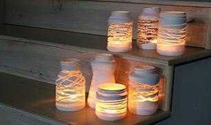 DIY Yarn Wrapped Jam Jars