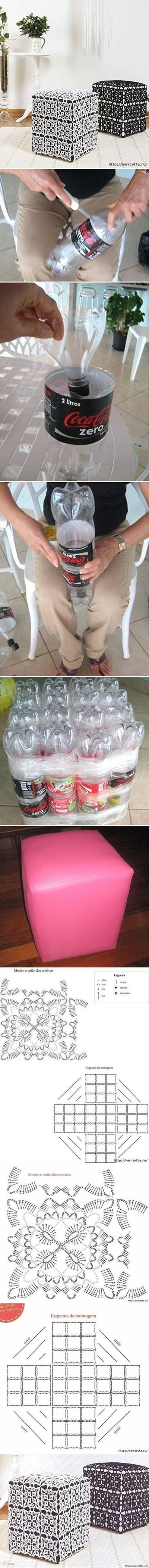 2  DIY Ottoman Out of Plastic Bottles99b5