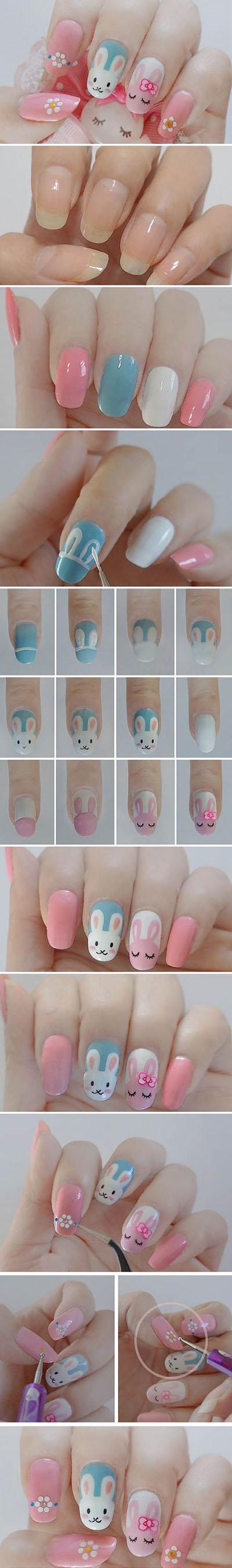 20 DIY Cute Rabbit Nail Design easter 9f4bb