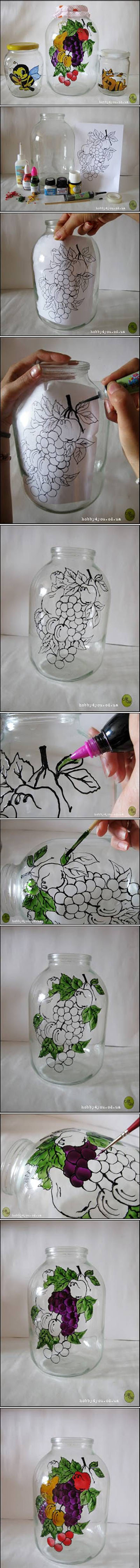21 DIY Jar Painting Decor86b6b47c54a02