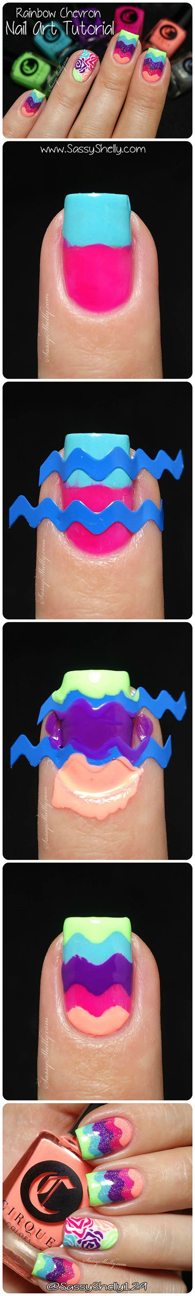 21 How to create a Chevron nail 219560