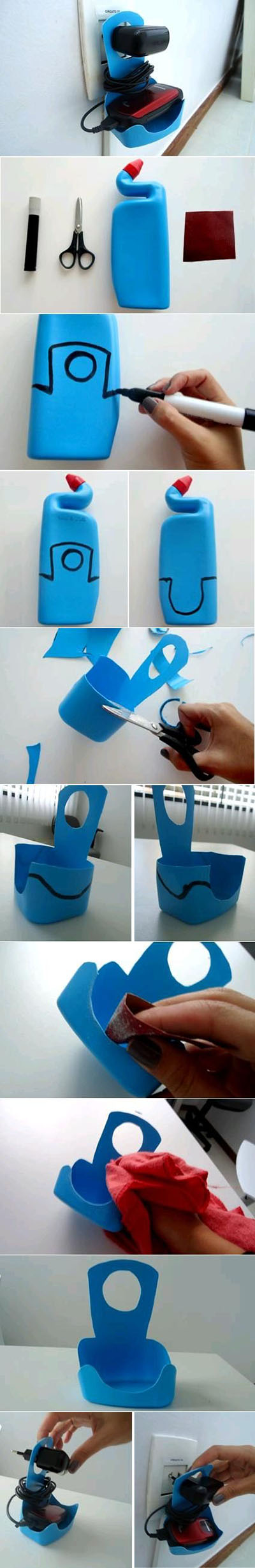 5  DIY Plastic Bottle Mobile Phone Charger Holder8709553