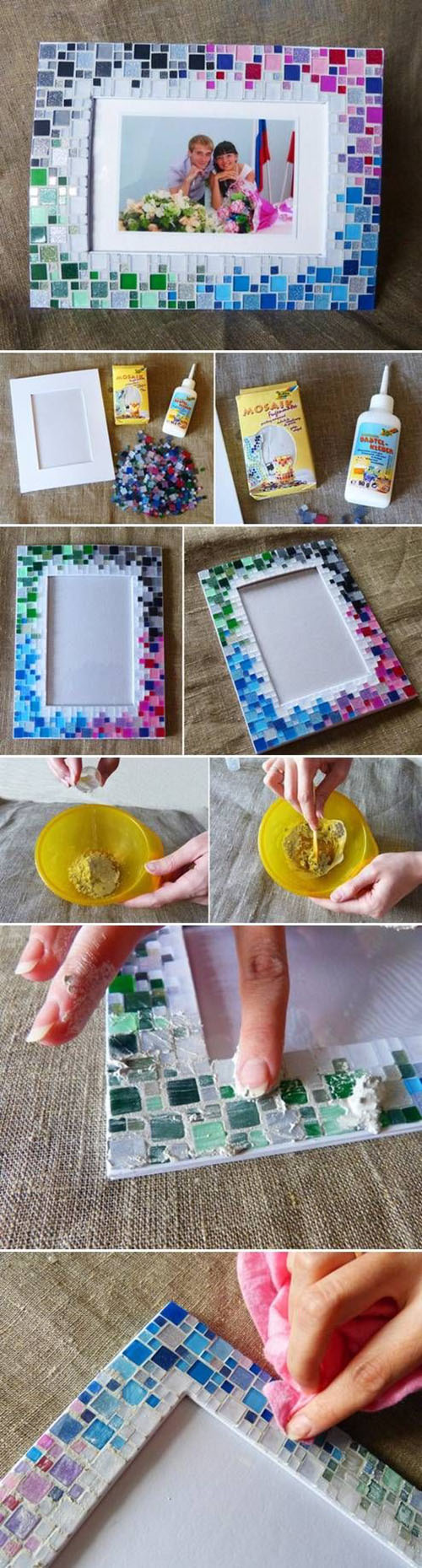 6  DIY Colorful Mosaic Picture Frame085d7a
