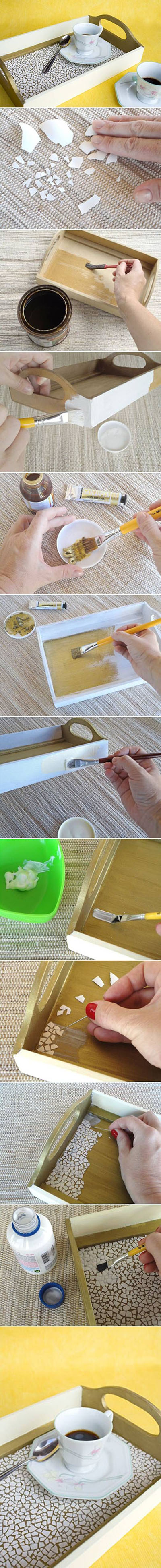 13 DIY Eggshell Mosaic Tray DIY Projects 5e63223253e