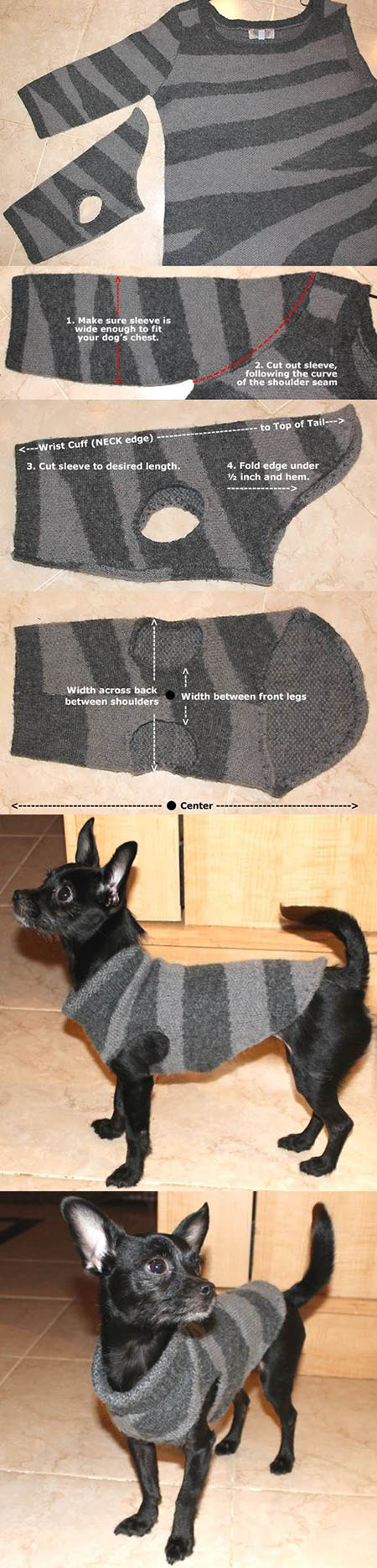 21 DIY Dog Sweater from a Used Sweater 494d048f8