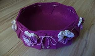 DIY Beautiful Felt Basket with fabric flowers