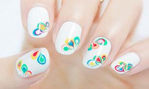 Rainbow Drops Nail Design Idea